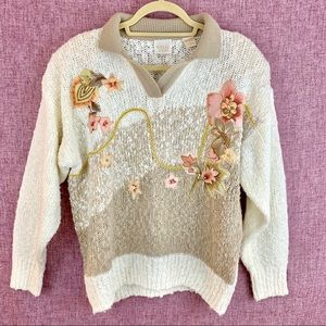 Vintage Needles&Yarn Embroidered Floral Sweater L